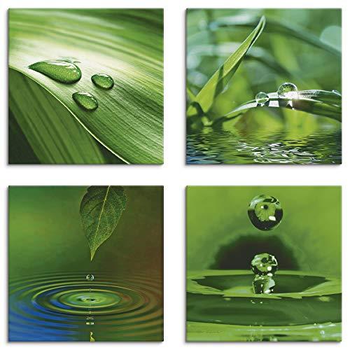 Artland Leinwandbilder auf Holz Wandbild Bild Set 4 teilig je 20x20 cm Quadratisch Wellness Zen Pflanze Grün Blatt Gras Wassertropfen K2IQ