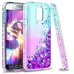 cheap Galaxy S5 case, S5 glitter case with tempered glass screen protector [2 Pack] For female girls …