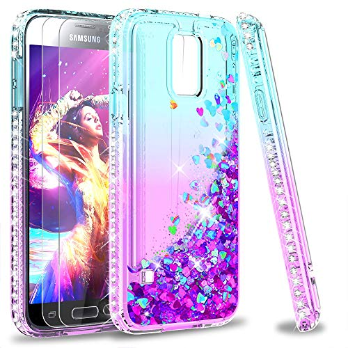 LeYi Compatible with Galaxy S5 Case with 2PCS Tempered Glass Screen Protector for Girls Women, Glitter Sparkle Diamond Quicksand Phone Case for Samsung Galaxy S5, Teal/Purple