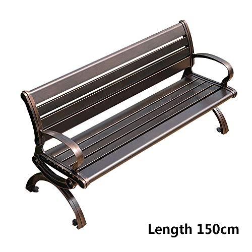 59 pulgadas de terraza al aire libre / parque / banco, Con respaldo y reposabrazos Banco de jardin de balcon de aluminio fundido, Resistencia a la intemperie para porches Combinacion de mesa y silla