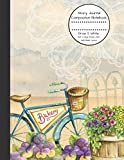 Story Journal Composition Notebook Draw & Write Half College Ruled Lines Half Blank Space: Combined Note and Sketch Workbook Top & Bottom (Antique Vintage Bicycle Floral Cover Flower and Bike)
