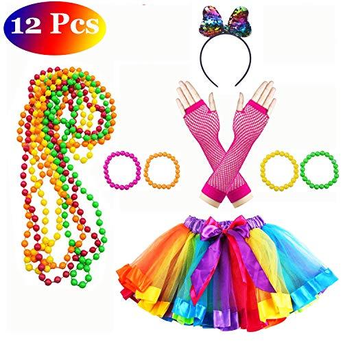 Lhasam 80s Falda de neón de Disfraces, Vestido de Falda para niñas, 80 Disfraces, Accesorios para Disfraces Fiesta con neón Rainbow Vestido Guante neón Pulseras Collares Diadema de Colores para niñas