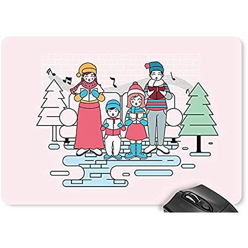 Mouse Pad Weihnachten Englisch Schneemann Schneeflocken Sterne Kreise Weihnachtsmützen Mauspad Spiel D0725275 Spielmatte Computer Zubehör Mauspad Mousepad 25X30Cm