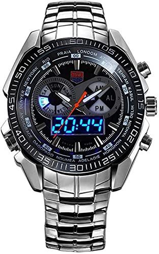 Watch Digital Sports Watch Men's Steel Correa Fecha Pantalla Luminosa Moda Deportes Doble No Mostrar Reloj Digital (Color: 01, Tamaño: Un tamaño) (Color : 01, Size : One Size)