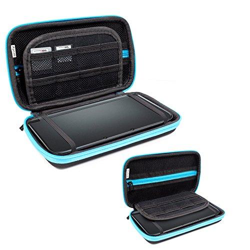 3DSXL Case, Orzly Aufbewahrungstasche für 3DS XL oder NEW 3DS XL - Hartschalen Schutzhülle für das Original Modell 3DS XL oder das Nue Nintendo 3DS XL Konsole & Accesoires - BLAU auf Schwarz
