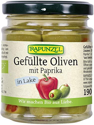 Rapunzel Bio Oliven grün, gefüllt mit Paprika in Lake (6 x 190 gr)