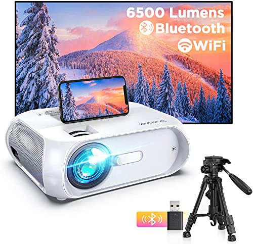 BOMAKER Proyector WiFi, 6500 Lúmenes 1080P Nativo Full HD Proyector Portatil Nativo 720P 300' Duplicar Pantalla, Mini Proyector Inalámbrico Cine en Casa para iPhone/Android /iPad/TV Stick/PS4/PC S5