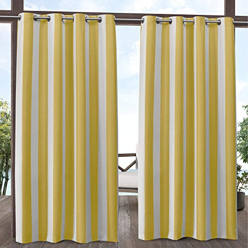Exclusive Home Curtains Canopy Stripe Indoor/Outdoor Grommet Top Curtain Panel Pair, 54x96, Sunbath/White