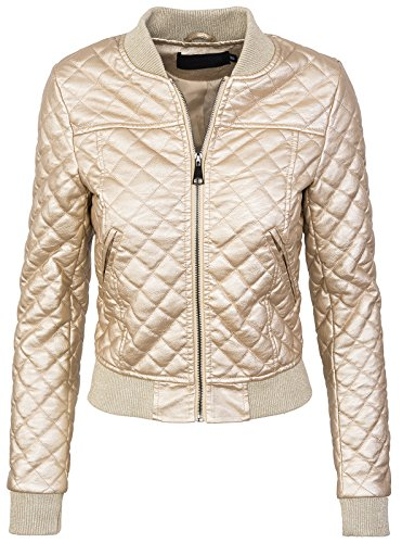 Rock Creek Selection Damen Bomberjacke Kunstleder Jacke D-299[PU2380 Gold 42]