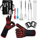 BBQ-Grill-Accessories,BBQ-Tools-Set-with-Case 13PCS Stainless Steel Grilling Utensils, BBQ Gloves, Bear Claws, Basting Brush, Tongs