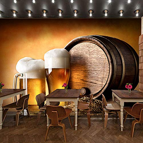3D Retro Bar Wallpaper Bier Thema Weinkultur Wandbild Freizeit Bar Restaurant Cafe Barbecue Restaurant Wallpaper-400Cmx280Cm