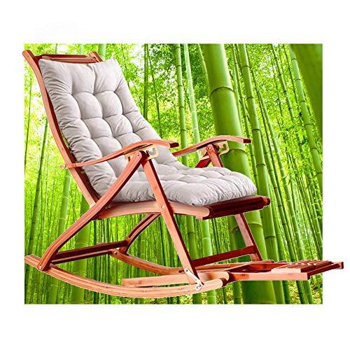 HT Schaukelstuhl, Schaukelstuhl Aus Bambus, 5-Fach 170 ° Rückenverstellung, Fußmassage Und Einziehbare Fußstütze, Liegetuhl, Der Je Nach Sonne Seine Farbe ändert. Tragen Von 300 Kg (Grau)