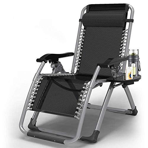 SCJ Terrassenstühle Liegen für schwere Menschen, Hochleistungs-Schwerelosigkeitsstuhl, verstellbare Sonnenliege für Garden Beach Lawn Swimmingpool Gewächshaus, Liegestuhl-Black Rod Striped Chair
