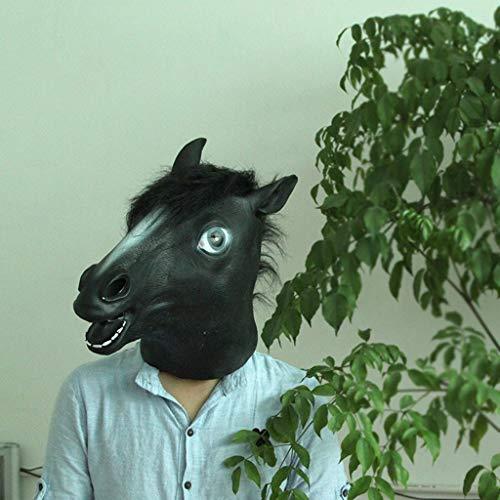 GHMOZ Wow Haha Horror Maske for Halloween Kostüm Party Animal Kopf Latex Halloween Cosplay Partei Requisiten (Color : Black)