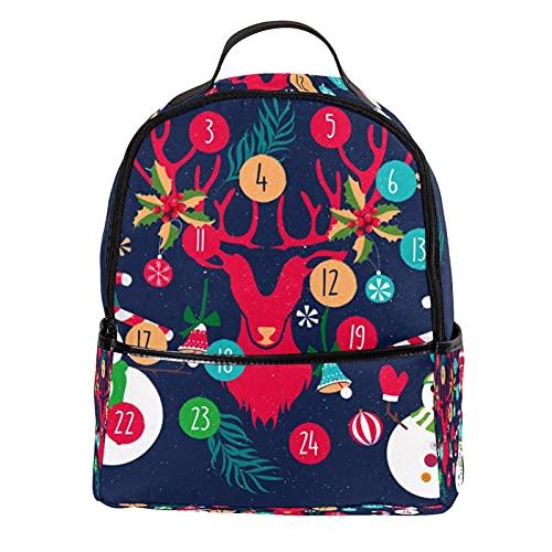 ATOMO Lässiger Mini-Rucksack, Weihnachts-Elemente, Kalender, Schneemann, PU-Leder, Reise-Einkaufstaschen, Tagesrucksäcke