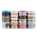 Lychii Multi-Pattern Washi Tape Ruban Adhésif Papier Décoratif Masking Tape Scrapbooking, Embellissez Bullet Journal, l'Ordre 20 Rolls (E)