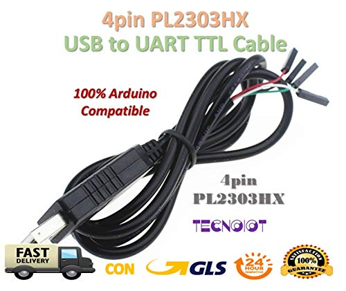 TECNOIOT 4pin PL2303 USB to UART TTL Cable Module RS232 Serial 4-pin PL2303HX Cable