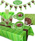 Football Party Supplies Sports Theme Party Pack for Game Day and Birthday Including Dinner Plates, Dessert Plates, Cups, Napkins, Spoons, Knives, Forks, Tablecloth, Banner, 182Pcs, Serves 20