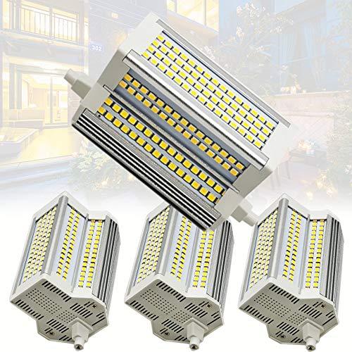 4-pc 50W 118mm R7S Bombilla LED Luz Blanca 4000K, 500W R7s J118 Reemplazo de halógeno, Reflector R7s de Doble Extremo de 118 mm, Ángulo de Haz de 220 °