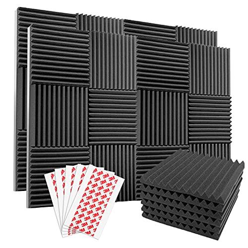 Komake 24 Stück Platten Akustikschaumstoff Noppenschaumstoff,Platten Schalldämmung Akustikschaumstoff Schalldämmung für Tonstudio Schallabsorbierende Dämpfungswand Schaumpyramide (30x30x2.5cm)