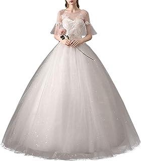 mylyfu Simplicité Élégante Robe de Mariée Pour la Mariée, Robe de Mariée Pour Femmes Col en v Appliques de Dentelle Blanch...