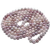JYX AA + Pearl Long Necklace Classical 8-9mm Multi Color Natural Freshwater Cultured Pearl Sweater Necklace 47'