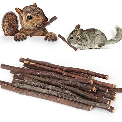 UMIWE Apple Sticks Pet Snacks, Natural Chew Sticks PequeñO Pet Chew Toy para Cobayas Chinchilla Ardilla Conejos Loro Hamster Y PequeñOs Animales Chew Stick Toys Treats (40 Uds)