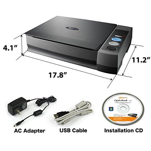 Plustek OpticBook 3800L Book Scanner, CCD image sensor with1200 dpi Resolution, Book Edge Design Eliminates Spine Shadow and text distortion.
