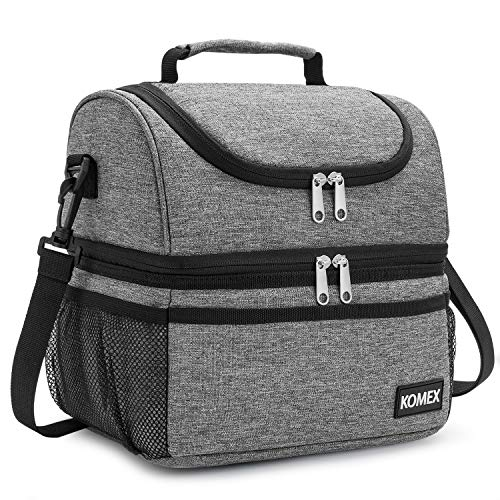 KOMEX Insulated Dual Compartment Lunch Bag Leakproof Lunch Box Cooler with Shoulder Strap For Man And Women for School, Work, Office