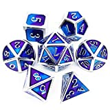 Haxtec Silver Purple Blue DND Metal Dice Set D&D Dragon Dice for Dungeons and Dragons TTRPG-Myth