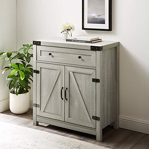 Walker Edison Farmhouse Barn Door Wood Accent Cabinet Entryway Bar Storage Entry Table Living Dining Room, 30 Inch, Stone Grey
