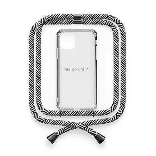 NECKLACY® - Premium Handykette für Apple iPhone 7/8 / SE in Domino Swirl Gunmetal   durchsichtige Handyhülle mit hochwertiger Kordel zum Umhängen - Smartphone Crossbody Hülle