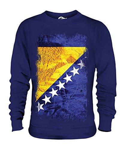 Candymix Bosnien Und Herzegowina Grunge Flagge Unisex Herren Damen Sweatshirt, Größe X-Large, Farbe Navy Blau