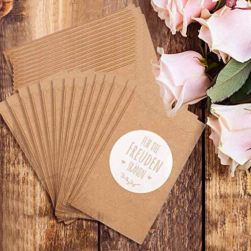 100 bolsas de regalo con lágrimas de alegría y pegatinas de papel de estraza vintage, bolsas de papel planas para pañuelos de papel para bodas, regalo respetuoso con el medio ambiente