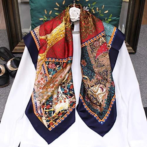 Dames Vierkante sjaal Dames Mode Zijden sjaals Zacht Zijdezacht Glad Sjaals Sjaal Wrap voor meisje Cadeaus, 100% moerbeizijde Anti allergie, 185 x 65 cm,Blue