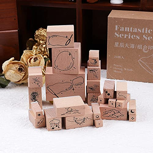 RisyPisy 24PCS Vintage Wood Rubber Stamps Set, Stars Sea Combination Rubber Stamps, Creative Animal Decorative Stamps for Scrapbooks, Greeting Card, Notebook, Packing Bag, DIY Crafts, Art