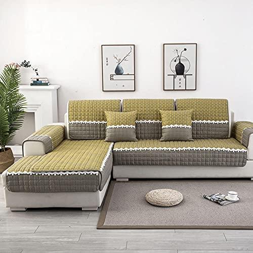 KENEL Chaiselongue Sofa Abdeckung, Sofabezug Sofa Abdeckung Grobspitze Sofa Kissenbezug Tuch für alle Jahreszeiten-110 * 160 cm_Grün-Verkauft in stück