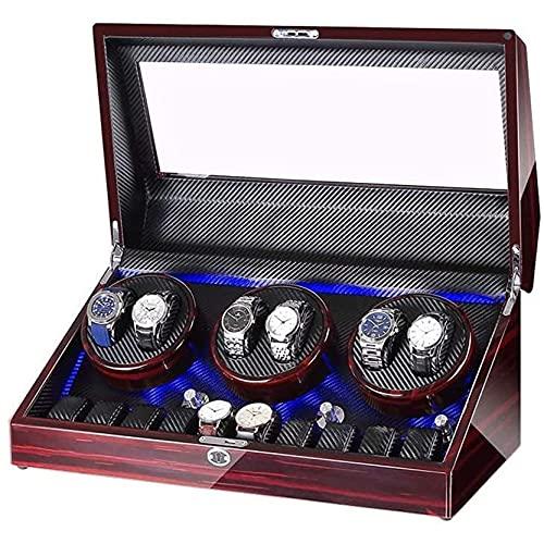 FFTUB Enrollador Automático para 6 Relojes Caja De Almacenamiento De Relojes Concha De Madera Exterior De Pintura De Piano Cuero PU Motor Silencioso Padre,B