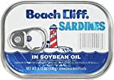 BEACH CLIFF Sardines in Soybean Oil, High Protein Food, Keto Food and Snacks, Gluten Free Food, High Protein Snacks, Canned Food, Bulk Sardines in Oil, 3.75 Ounce Cans (Pack of 18) Packaging May Vary