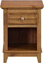 MUSEHOMEINC Rustic Wood Nightstand/End Table with Drawer, and Pull-Out Tray/End Table for Bedroom Open Cabinet Storage Home Furniture,Teak Finish