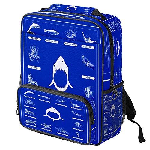 Mochila escolar informal con estampado de tiburón, mochila multifuncional, Patrón #1 (Multicolor) - backpacks013