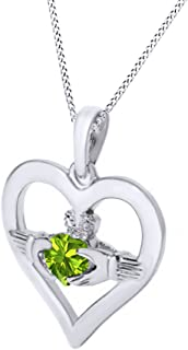 Jewel Zone US Claddagh Heart Pendant Necklace Simulated Gemstone 14k White Gold Over Sterling Silver