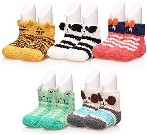 Baby Boys Girls Soft Fuzzy Slipper Socks Non Slip Cozy Winter Fluffy Warm Kids Toddler Socks product image