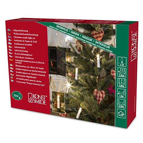Konstsmide 1140-000 - Guirnalda para árbol de Navidad (10 bombillas transparentes, 230 V, para interiores, cable verde), diseño de velas