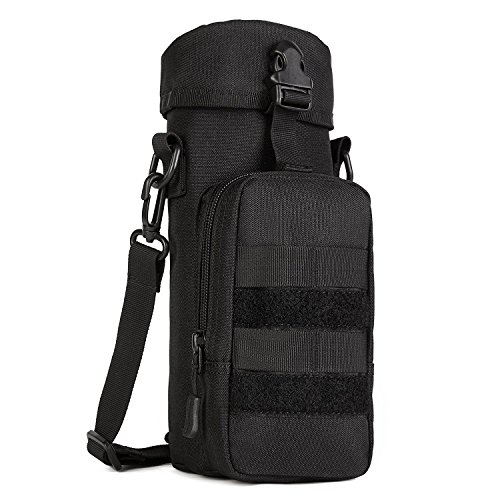 Huntvp Molle Water Bottle Pouch Bag Tactical Military Kettle Canteen Bag Pack Crossbody Bag(800ml) Black