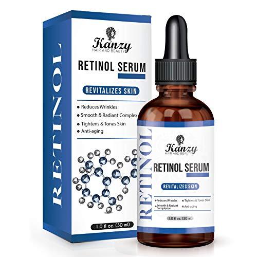 KANZY Retinol Serum 2.5% für Gesicht Bestes Anti-Aging feuchtigkeitsspendende Serum Gesichtspflege gegen Falten & Altersflecken mit Hyaluronsäure, Vitamin C, A & E, Jojobaöl & Aloe Vera - 30ml
