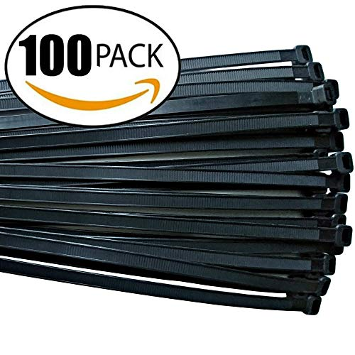 Cable ties 18 inch,Thick Premium Heavy Duty. 100 Piece Value Pack of Black Nylon Wire Zip Ties by Strong Ties. 175 Pounds Tensile Strength, Indoor Outdoor UV Resistant.