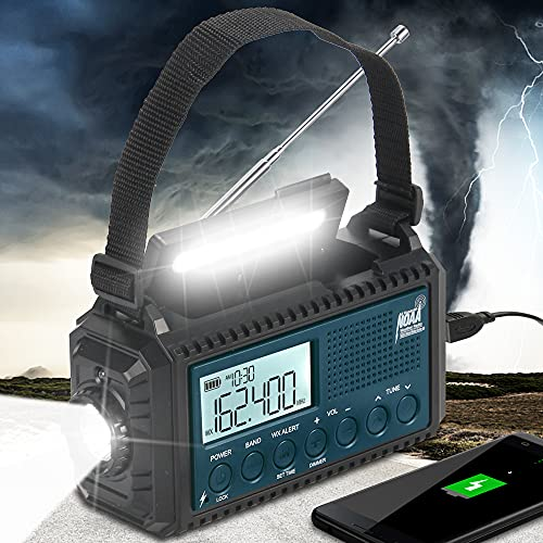 Auto NOAA Weather Alert Radio, 5000mAh Hand Crank Solar Emergency Radio, Portable Battery Operated AM FM Shortwave Radio with Phone Charger,Flashlight,Reading Lamp,Headphone Jack,SOS, Best Camping Kit
