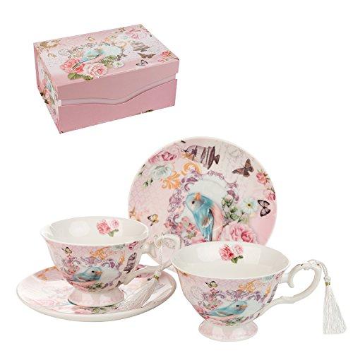 London Boutique Set aus Kaffee-/Teetassen und Untertassen, Shabby Chic, Vintage-Design, Porzellan mit Blumenmuster, 2 Sets in Geschenk-Box, Keramik (Cuckoo)