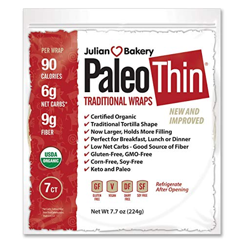 Julian Bakery® Paleo Thin® Wraps | USDA Organic | Gluten-Free | Grain-Free | Low Carb | 6 Net Carbs | 7 Pack | 49 Individual Wraps